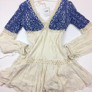 Free People Ivory Dusk Til Dawn embroidered dress